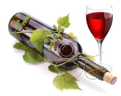 Papiers peints: Bouteille de vin, un verre de vin rouge et une vigne.