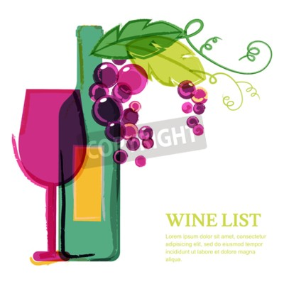 Papiers peints Bouteille de vin, verre, vigne rose, illustration aquarelle. Résumé, vecteur, fond, conception, modèle. Concept pour la liste des vins, menu, flyer, fête, boissons alcoolisées, fêtes de célébration.
