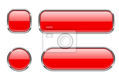 Papiers peints Boutons en verre rouge avec cadre chromé. Ensemble d'icônes web 3d brillant blanc