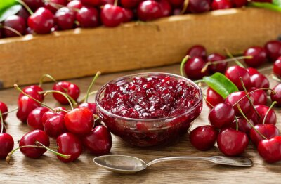 bowl of cherry jam and fresh fruits