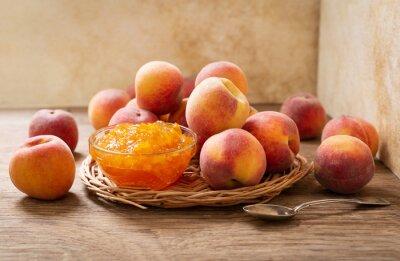 bowl of peach jam and fresh fruits