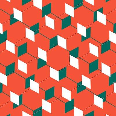Papiers peints Box abstract art cubiste illusion en orange et vert