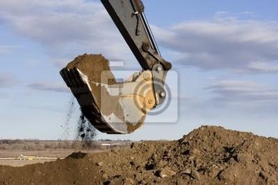 Papiers peints Bras d'excavatrice et une pelle saleté creuser au chantier de construction