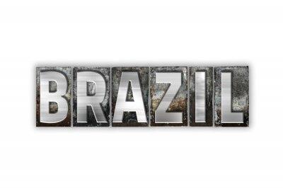 Papiers peints Brésil, concept, isolé, métal, typographie, type