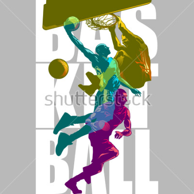 Papiers peints Bright Basketball players silhouettes with Colour Channel overlaping  sport illustration