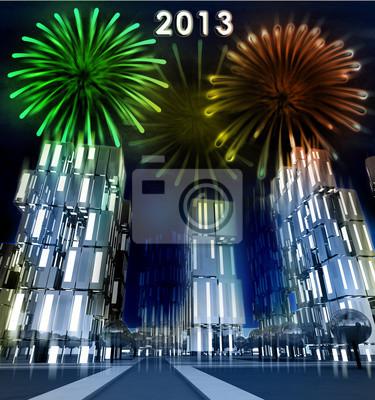 Brillant célébration feu d'artifice sur la ville gratte-ciel