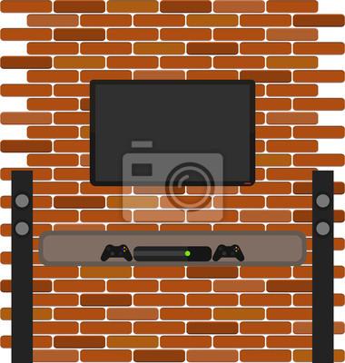 brique mur avec TV et console de jeu accroché sur elle