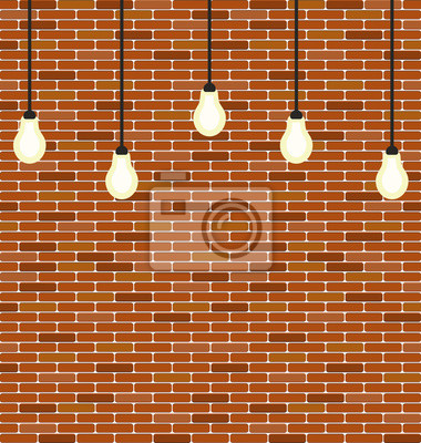 briques de mur de la pendaison décoration ampoules