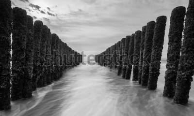 Papiers peints brise-lames à la mer baltique dans les couleurs noir et blanc
