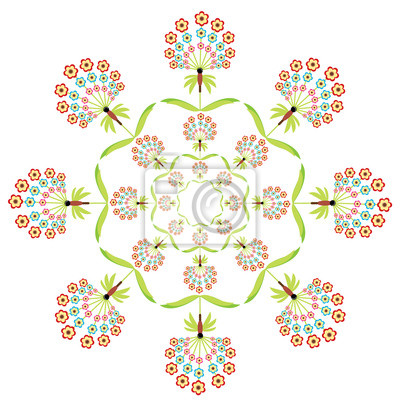 Broderie florale ronde