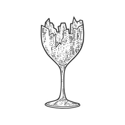Broken wine glass set sketch engraving vector illustration. T-shirt apparel print design. Scratch board imitation. Black and white hand drawn image.