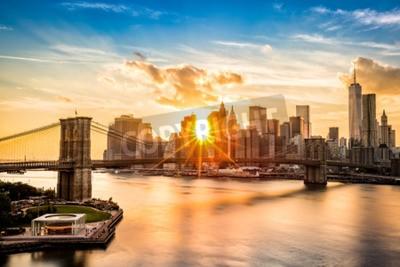 Papiers peints Brooklyn, pont, inférieur, Manhattan, Horizon, Coucher soleil, vue, Manhattan, pont