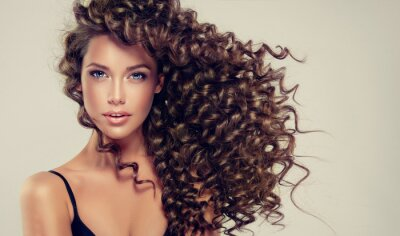 Papiers peints Brunette aux cheveux longs et brillants. Beau modèle avec une coiffure ondulée.