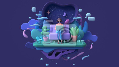 Papiers peints Brunette woman with a laptop sitting on a sofa late at night. Abstract concept art lazy sedentary lifestyle of a young freelancer working from home with cat, plants. 3d illustration on blue background
