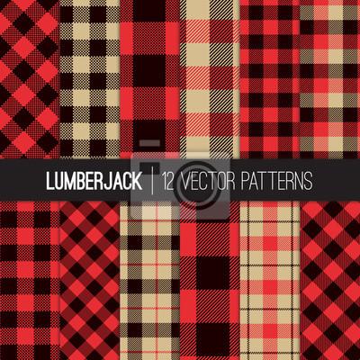 Papiers Peints Bucheron Buffalo Check Plaid Vecteur Seamless Patterns En Rouge