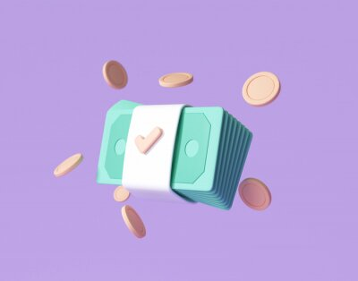 Papiers peints Bundles cash and floating coins around on purple background. money-saving, cashless society concept. 3d render illustration