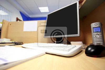 Bureau Lieu De Travail Avec Un Ordinateur Papier Peint Papiers Peints Poste De Travail Personnel Lcd Myloview Fr
