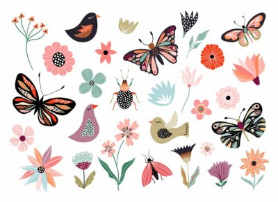 Papiers peints Butterflies, flowers and birds hand drawn collection of different element, isolated on white