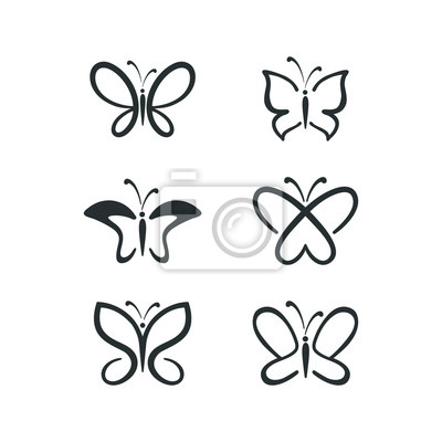 Papiers peints butterfly icon set. Concept Logo Design Template Set of silhouette of butterfly, vector illustration