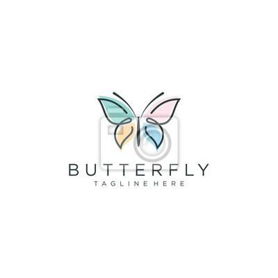 Papiers peints butterfly logo vector line outline monoline icon illustration