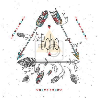 Cadre tribal avec flèches et plumes. Plumes ethniques. Boho Style. Illustration vectorielle
