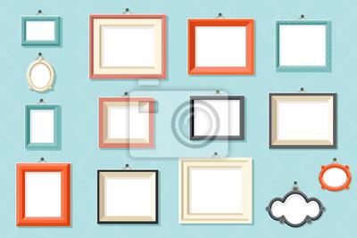 Papiers peints Cadre vintage photo photo dessin dessin modèle icônes mis en illustration vectorielle de mur fond design plat