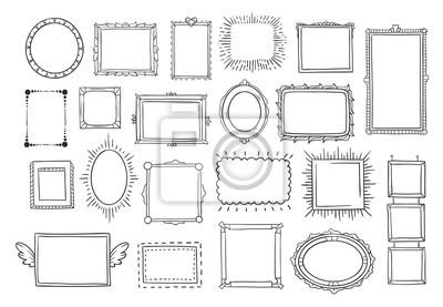 Papiers peints Cadres dessinés à la main. Cadre de photo vintage doodle sketch. Croquis de cadre carré noir blanc peints par les mains vector set