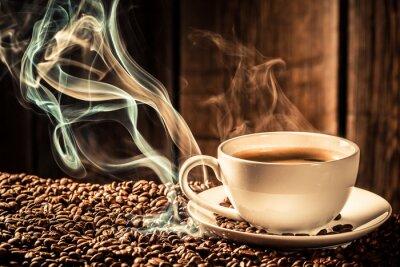 Papiers peints café Bouton tasse avec graines grillées