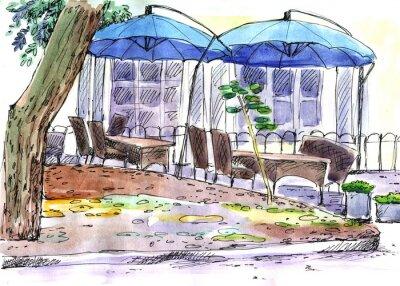 Papiers peints Café dans la rue. Bleu parapluies, aquarelle