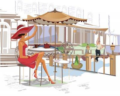 Papiers peints Café Fille de boire dans le café de la rue
