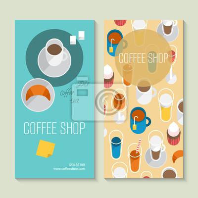 Papiers Peints Caf Modle De Carte Visite Avec Icnes Plates
