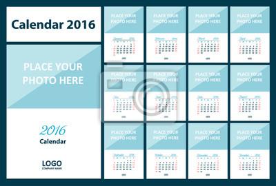 Calendrier 2016 à partir de dimanche. Illustration vectorielle