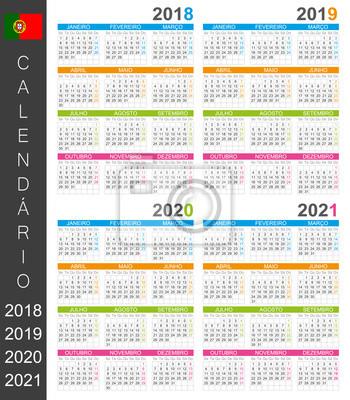 Calendrier 2018 2019 2020 2021 / modèle de calendrier portugais