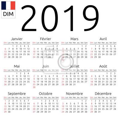 Calendrier Francais 2019.Papiers Peints Calendrier 2019 Francais Dimanche