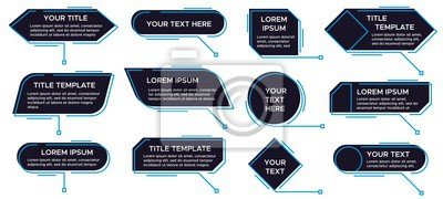 Papiers peints Callouts titles banner. Futuristic callouts template, digital line text frame boxes and callout label vector set. Collection of pop-up or description boxes, speech bubbles. Simple design elements.