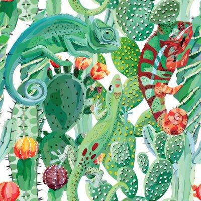 Papiers peints Caméléon, cactus, seamless, fond