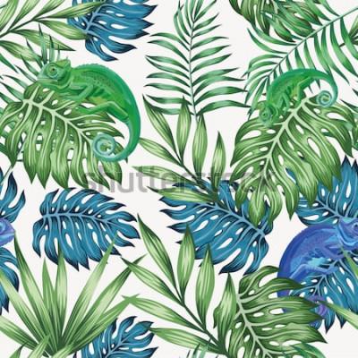 Papiers peints Caméléon nature exotique bleu et vert tropical feuilles modèle sans couture sur le fond blanc de vecteur