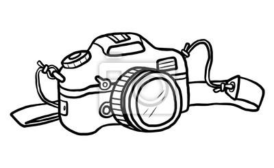 Camera Vecteur De Dessin Anime Et Illustration Noir Et Blanc Papier Peint Papiers Peints Tourisme Visite Illustrative Lentille Myloview Fr