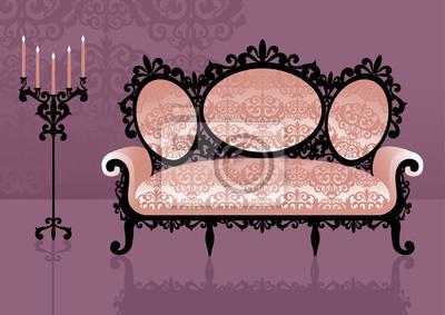 Canapé rose dans un intérieur. Illustration vectorielle