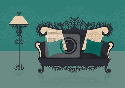 Canapé vert dans un intérieur. Illustration vectorielle