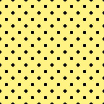 Papiers peints Carreau, vecteur, modèle, noir, pois, jaune, fond