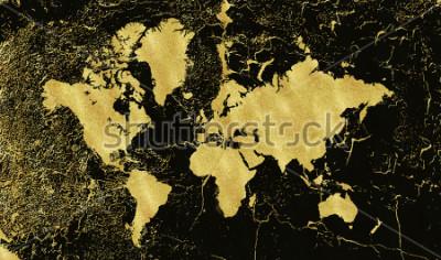 Papiers peints Carte d'or vintage sur fond noir. Porter texture, grunge, patine dorée. Modèle pour cartes, faire-part de mariage, affiches, blogs, site Web et plus