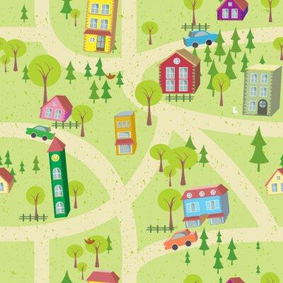 Papiers peints Carte de bande dessinée seamless, avec des maisons et des routes