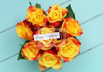 Papiers Peints Carte De Joyeux Anniversaire Avec Bouquet De Roses Saupoudré