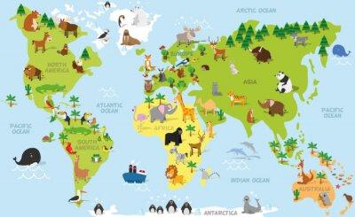Papiers peints Carte de monde drôle de bande dessinée avec les animaux traditionnels de tous les continents et océans. Vecteur, Illustration, préscolaire, éducation, enfants, conception
