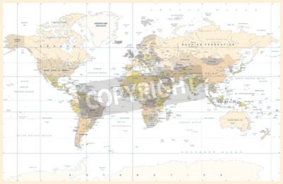 Papiers peints Carte de monde physique topographique coloré couleur Illustration vectorielle