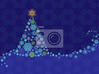 Carte de Noël avec des flocons de neige, arbre, ornement sur fond