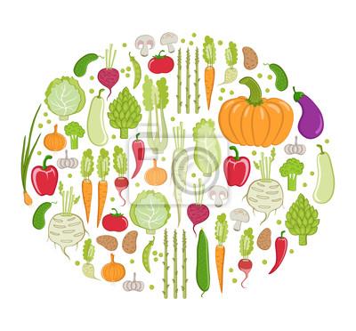 Carte de vecteur. légumes sains sur fond blanc