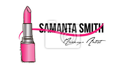 Papiers Peints Carte De Visite Maquilleur Modle Vectoriel Avec Maquillage La Main Rose