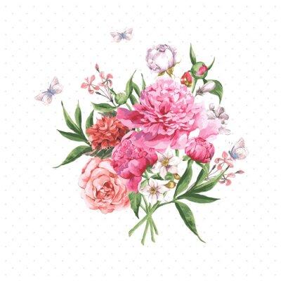 Papiers peints Carte de voeux Aquarelle vintage avec la floraison des fleurs et